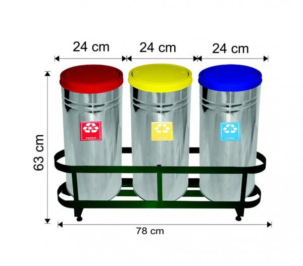 Set 3 cosuri colectare selectiva,inox, ~85 L 0