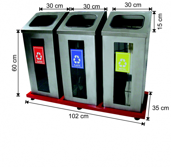 Set 3 cosuri colectare selectiva cu cadru metalic, inox, 162 L 0