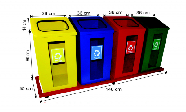 Set 4 cosuri colectare selectiva cu cadru metalic, 312 L [0]