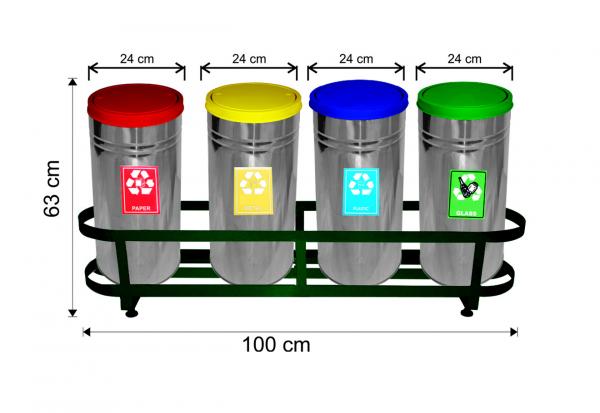 Set 4 cosuri colectare selectiva,inox, ~114 L 0