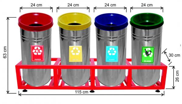 Set 4 cosuri colectare selectiva, inox, 108 L [0]