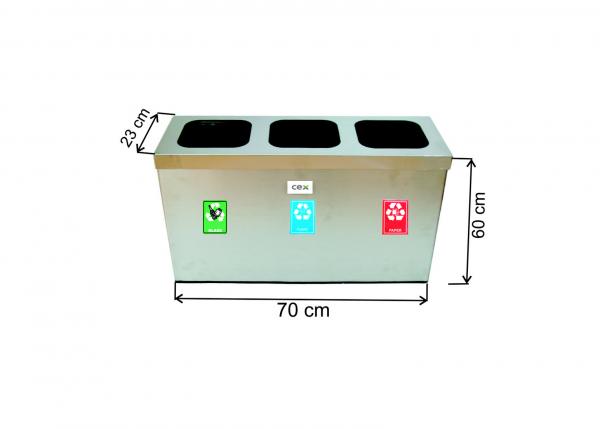 Set cos colectare selectiva cu 3 sectiuni, inox, 97 L 0