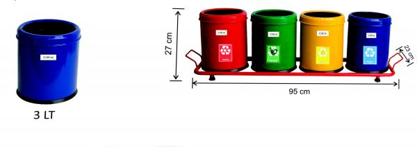 Set 4 cosuri colectare selectiva, 12 L 0