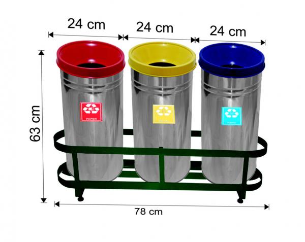 Set 3 cosuri colectare selectiva,inox, ~ 85 L [0]