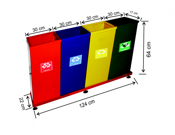 Set 4 cosuri colectare selectiva, metalic, 130 L [0]