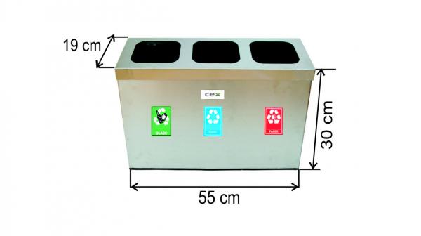 Set cos colectare selectiva cu 3 sectiuni, inox, 31 L 0