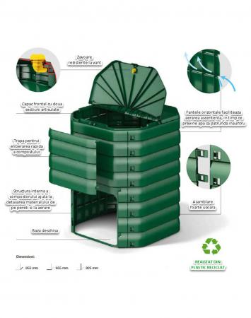 Compostor de gradina, verde, 300 L [2]