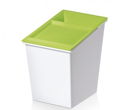 Cos gunoi colectare selectiva, 3 compartimente, 30 L, capac verde [0]