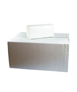 Prosoape pliate V Premium, albe, 150 buc/pach, palet1