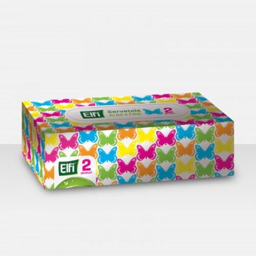 Șervețele albe cutie ELFI, 2 straturi, 150 buc. 0