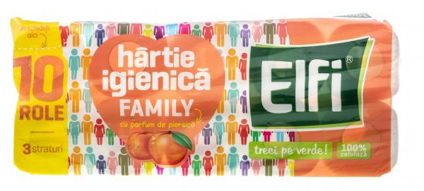 Hârtie igienică ELFI Family, 3 straturi piersica, 10 buc. 0