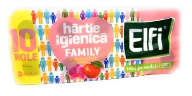 Hârtie igienică ELFI Family, 3 straturi măr și orhidee, 10 buc. 0
