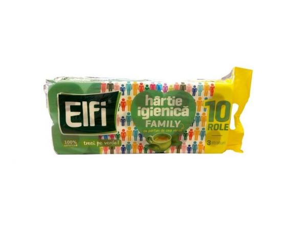 Hârtie igienică ELFI Family, 3 straturi ceai verde, 10 buc. 0