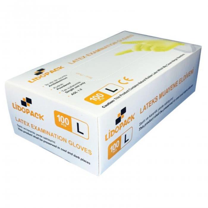 Manusi latex pudrate Lidopack 100 buc, marime L [0]