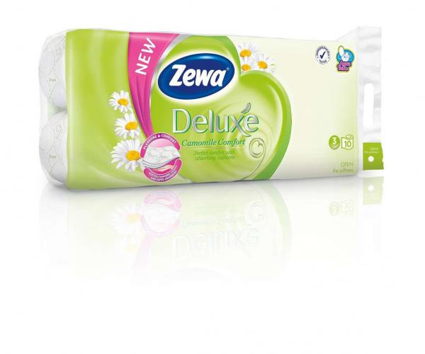 Zewa Deluxe Camomile Comfort Aqua Tube, 3 straturi, 8 role 0
