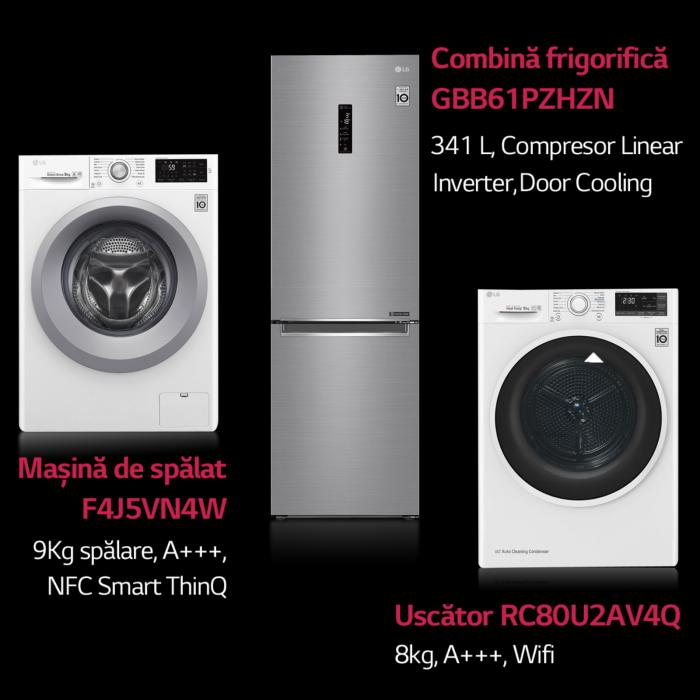Combina frigorifica LG GBB61PZHZN, A++, 341 L, Total No Frost, Compresor Linear Inverter 0