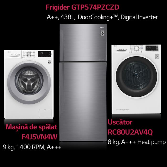 Frigider LG GTP574PZCZD, Clasa A++, 438 l, Compresor Linear Inverter, Total No Frost 0