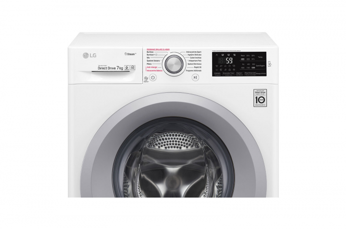 Mașină de spălat LG F2J5HY4W, 7kg, 6 Motion Direct Drive™, Clasa A+++, Steam™, NFC SmartThinQ 2