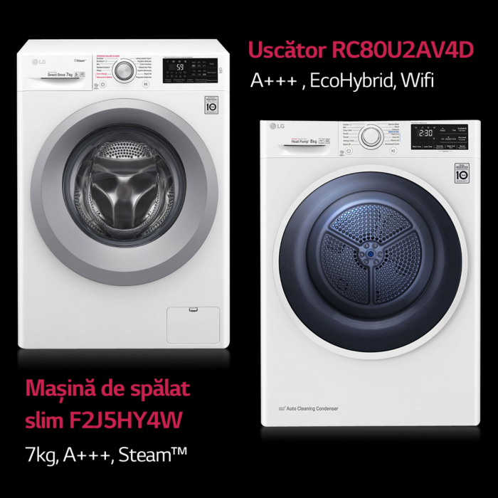 Mașină de spălat LG F2J5HY4W, 7kg, 6 Motion Direct Drive™, Clasa A+++, Steam™, NFC SmartThinQ 0