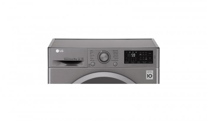 Masina de spalat rufe LG F4J5TN7S, Direct Drive, 8 kg, A+++, Argintiu 6
