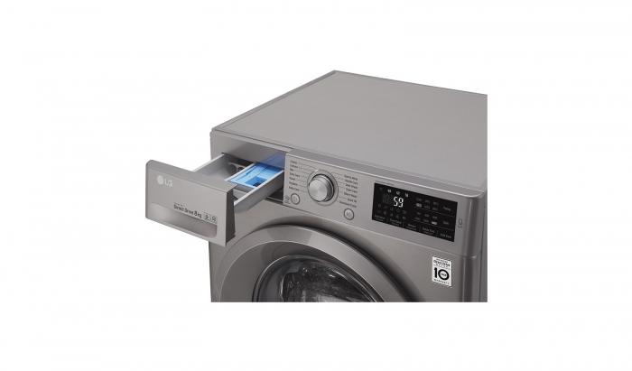 Masina de spalat rufe LG F4J5TN7S, Direct Drive, 8 kg, A+++, Argintiu 10
