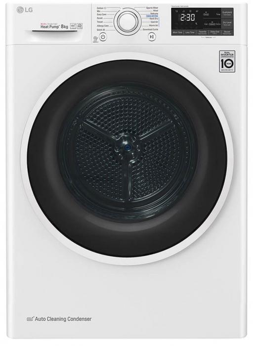 Uscător LG RC80U2AV4Q, Pompă de căldură Dual Inverter, 8kg, Clasa A+++, EcoHybrid, Wifi [0]