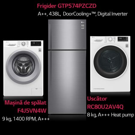 Frigider LG GTP574PZCZD, Clasa A++, 438 l, Compresor Linear Inverter, Total No Frost0