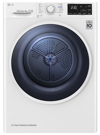 Uscător LG RC80U2AV4D, Pompă de căldură Dual Inverter, 8kg, Clasa A+++, EcoHybrid, Wifi0