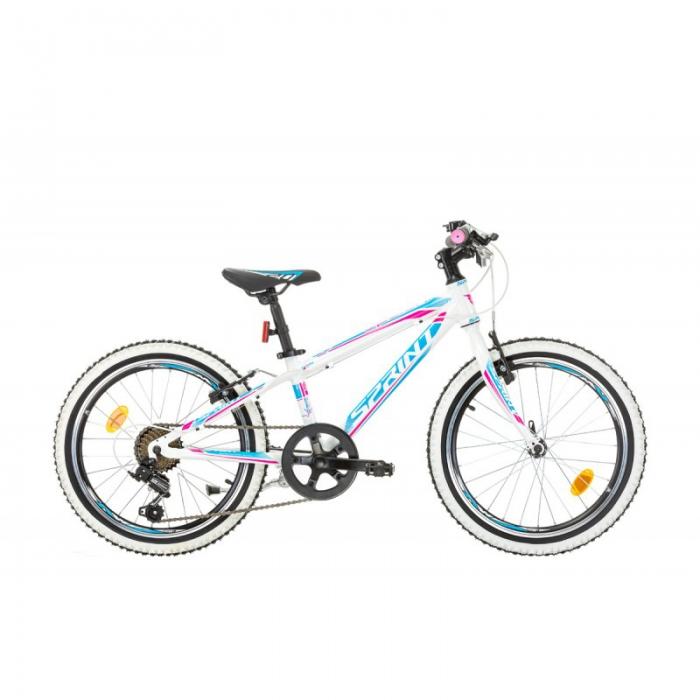 Bicicleta copii Sprint Apolon 20 alb/albastru/roz