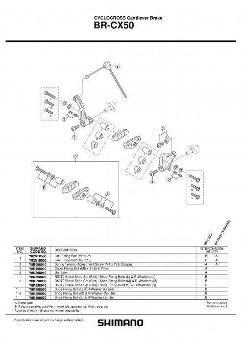 Saboti frana Shimano BR-CX50 0