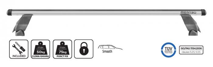 Bare transversale Menabo Tema Aluminiu pentru Volkswagen Caddy (2K) Life/Maxi/Van, model 2004-2015 0