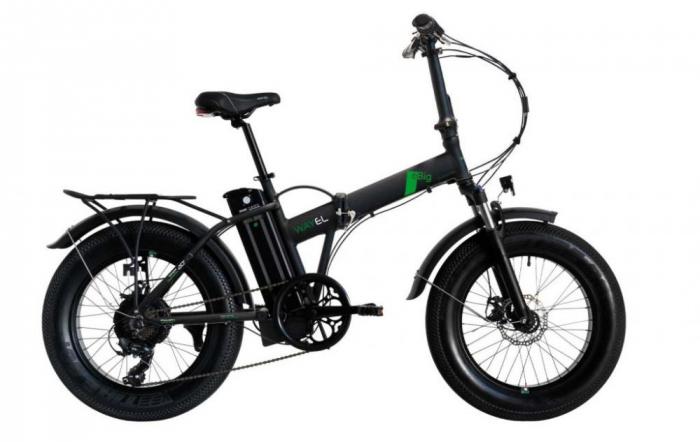 "Bicicleta Pliabila FAT e-Big WAYEL E-BIKE 20x4"" Sabbia Autonomie 75 km negru-verde 0"