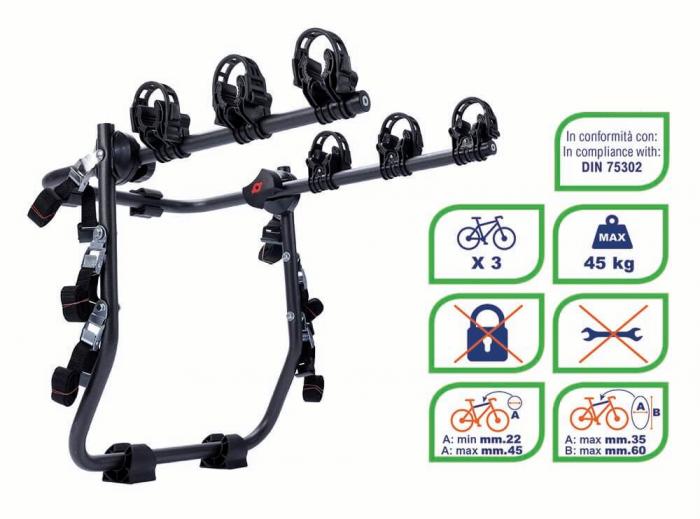 Suport biciclete K39 Holiday pentru 3 biciclete cu prindere pe haion/portbagaj 0