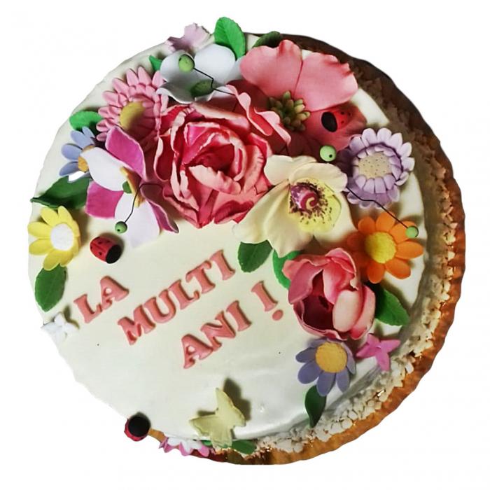 Tort alb cu flori model 3 [0]