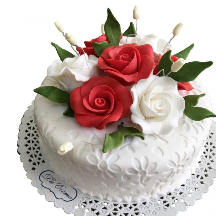 Tort alb cu flori model 4 [0]