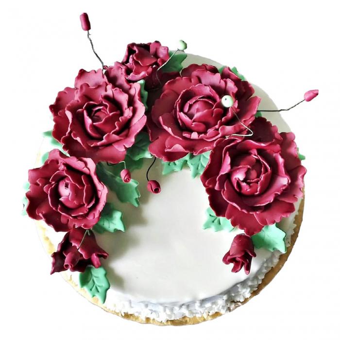 Tort alb cu flori model 5 [0]