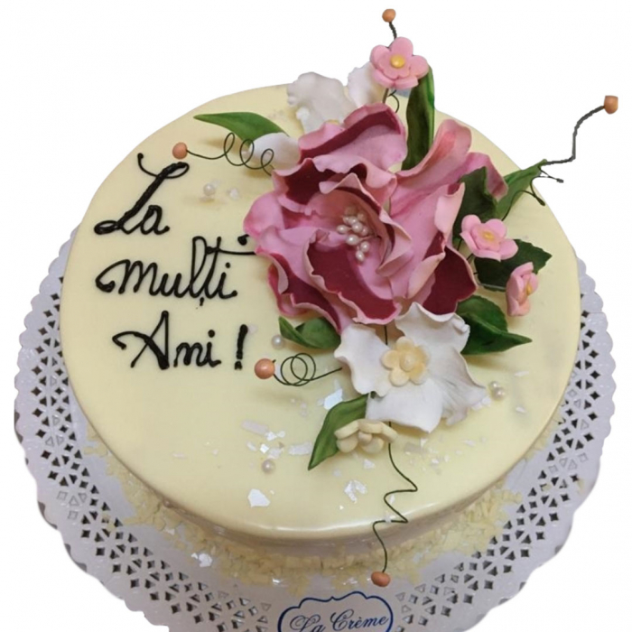 Tort in ciocolata alba cu flori model 1 [0]