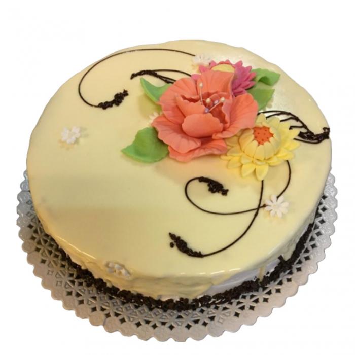 Tort in ciocolata alba cu flori model 2 [0]