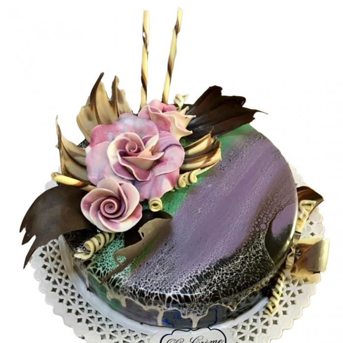Tort in ciocolata neagra cu flori model 4 [0]