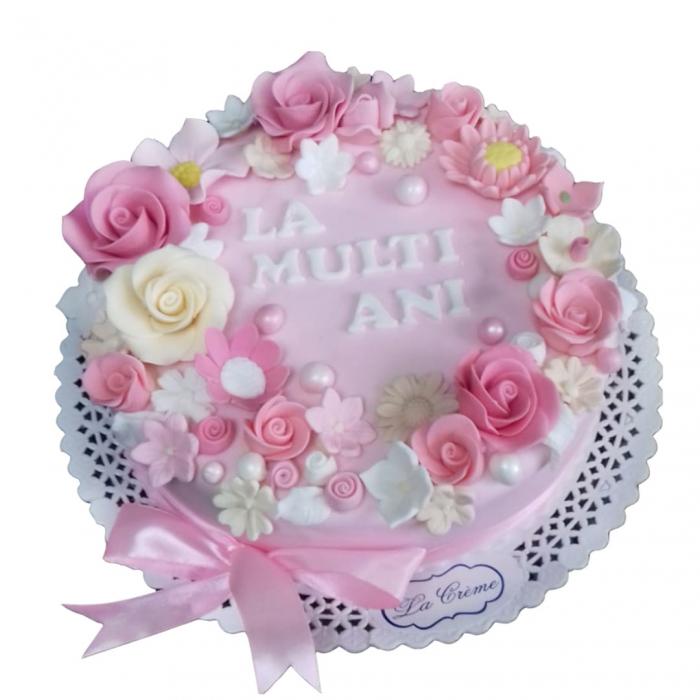 Tort roz cu flori [0]