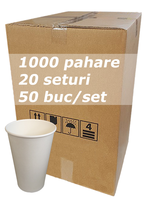 Pahar carton 12oz Alb JND bax 1000buc [0]