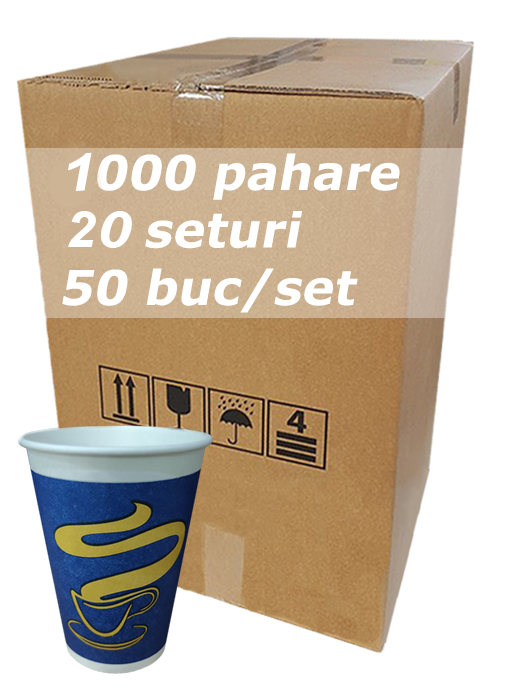 Pahar carton 12oz Albastru JND bax 1000buc [0]