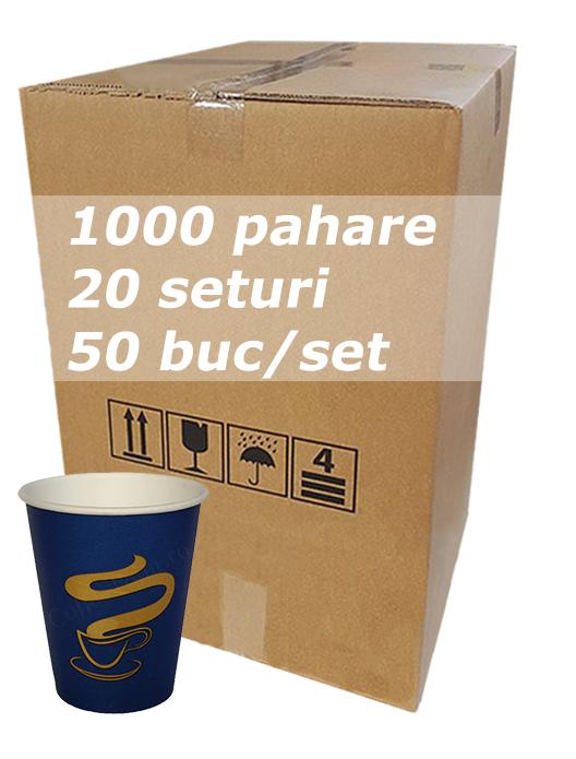 Pahar carton 8oz Albastre CITY bax 1000buc [0]