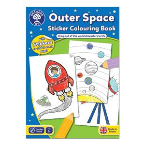 Carte de colorat cu activitati in limba engleza si abtibilduri In Spatiu OUTER SPACE 0