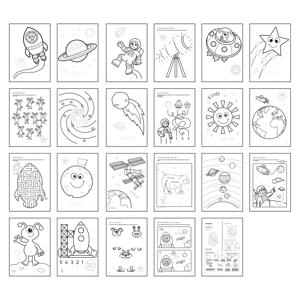 Carte de colorat cu activitati in limba engleza si abtibilduri In Spatiu OUTER SPACE 2