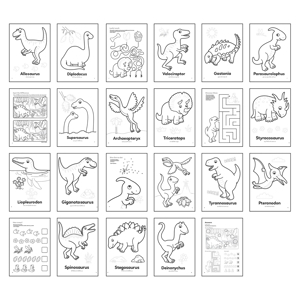 Carte de colorat cu activitati in limba engleza si abtibilduri Dinozaur DINOSAUR 3