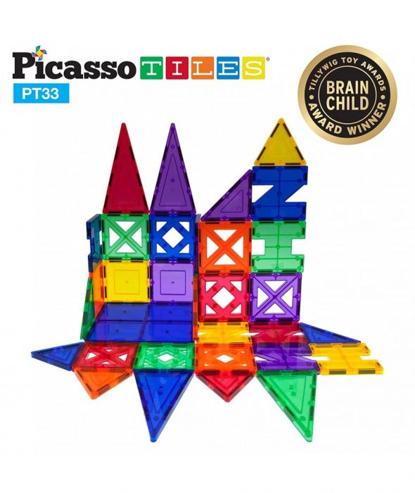 Set Magnetic Picasso Tiles - 33 Piese (9 Forme Diferite) 2