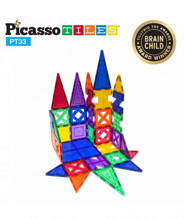 Set Magnetic Picasso Tiles - 33 Piese (9 Forme Diferite) 1