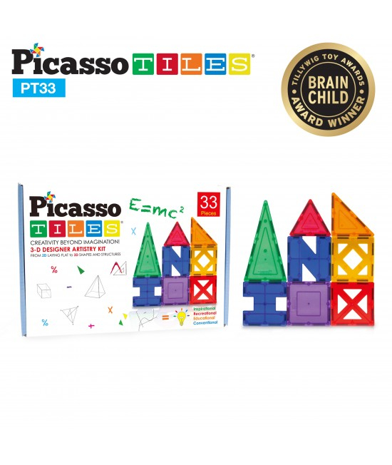 Set Magnetic Picasso Tiles - 33 Piese (9 Forme Diferite) 0