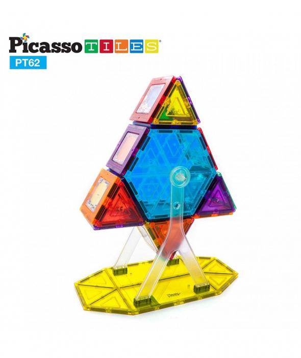 Set PicassoTiles Roată De Parc De Distracții - 62 Piese Magnetice De Construcție Colorate 1